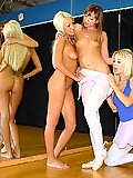 Super hot long leg lesbo ballet babes get horny at practise in this hot lesbo pussy licking dildo fucking 3way movie update